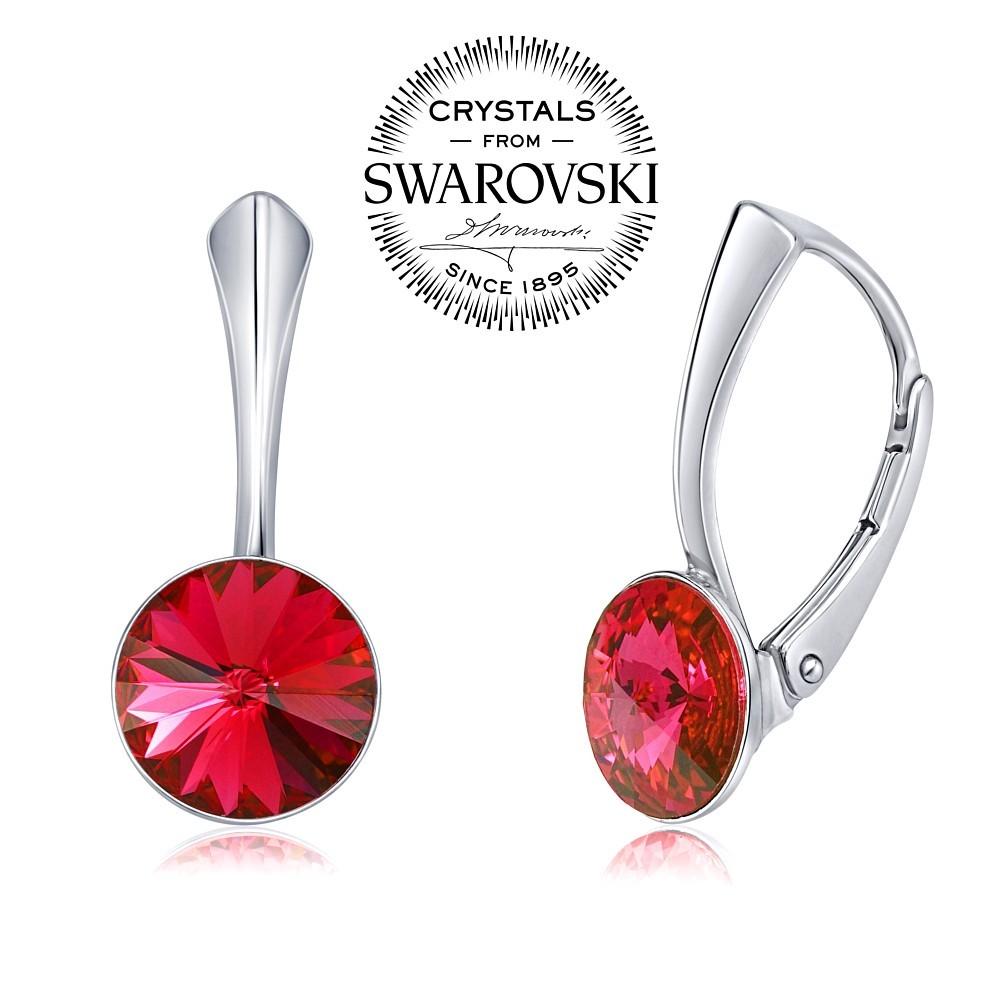 stříbrné náušnice se Swarovski® Crystals 8 mm rivoli červené VSW041E-red