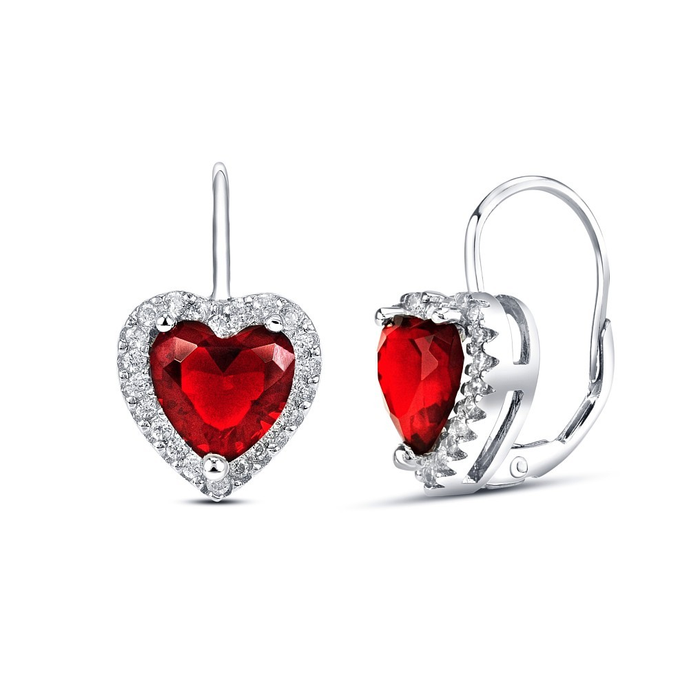 Stříbrné náušnice srdce s červeným křišťálem JJJE0121