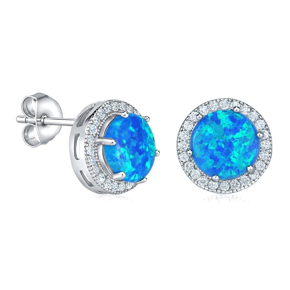 Stříbrné náušnice s modrým opálem JJJEM0016C2