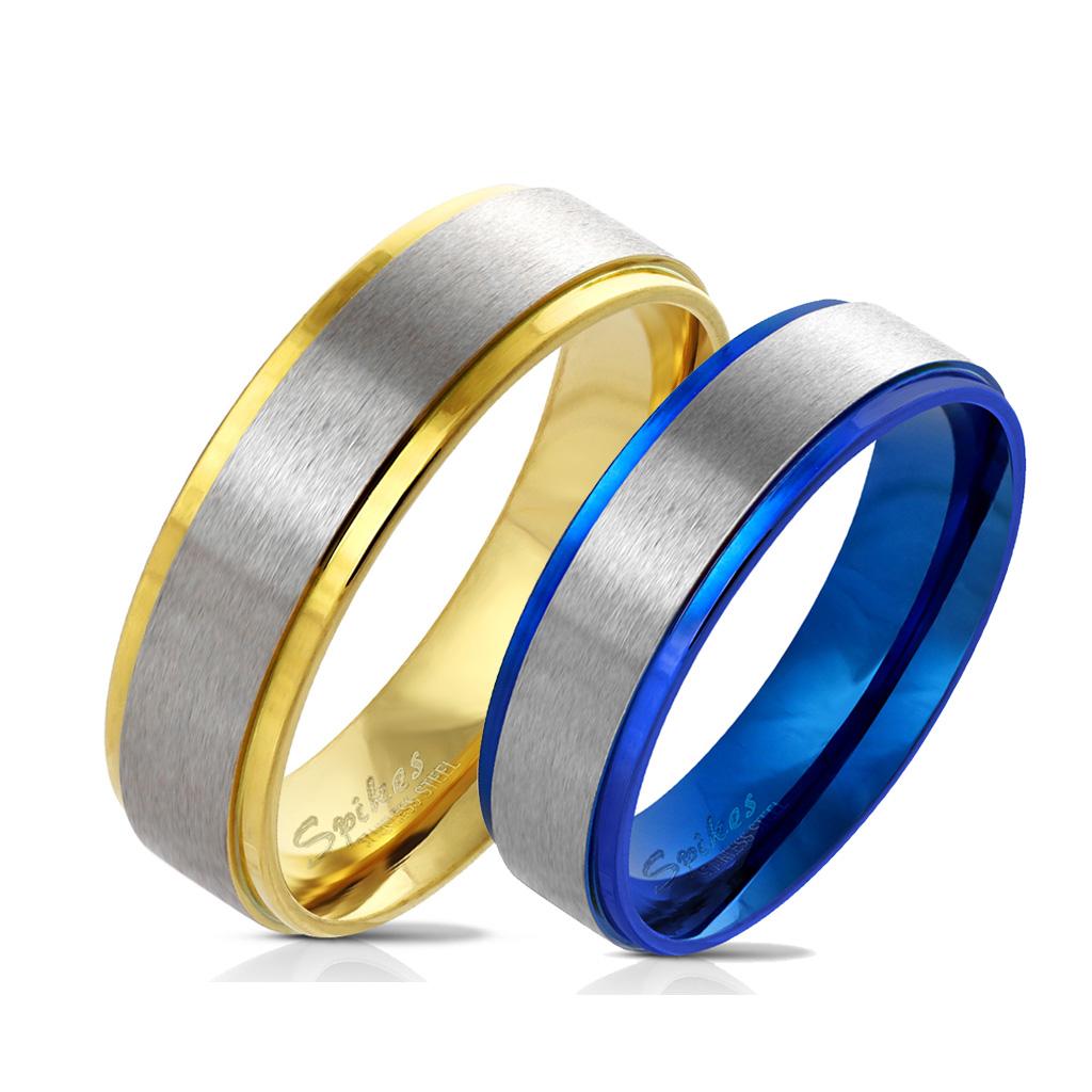 Snubní prsteny z chirurgické oceli R-M6055G+R-M6055B