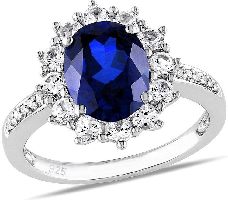 Stříbrný prsten princezny Kate se syntetickým Safírem - JJJR0932