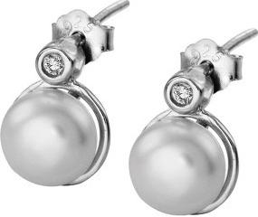 Náušnice Selilya Silver stříbrné s krystalem a syntetickou perlou SEJ05
