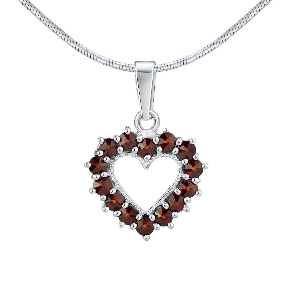 Stříbrný přívěsek s přírodními granáty ve tvaru srdce SILVEGOB180012