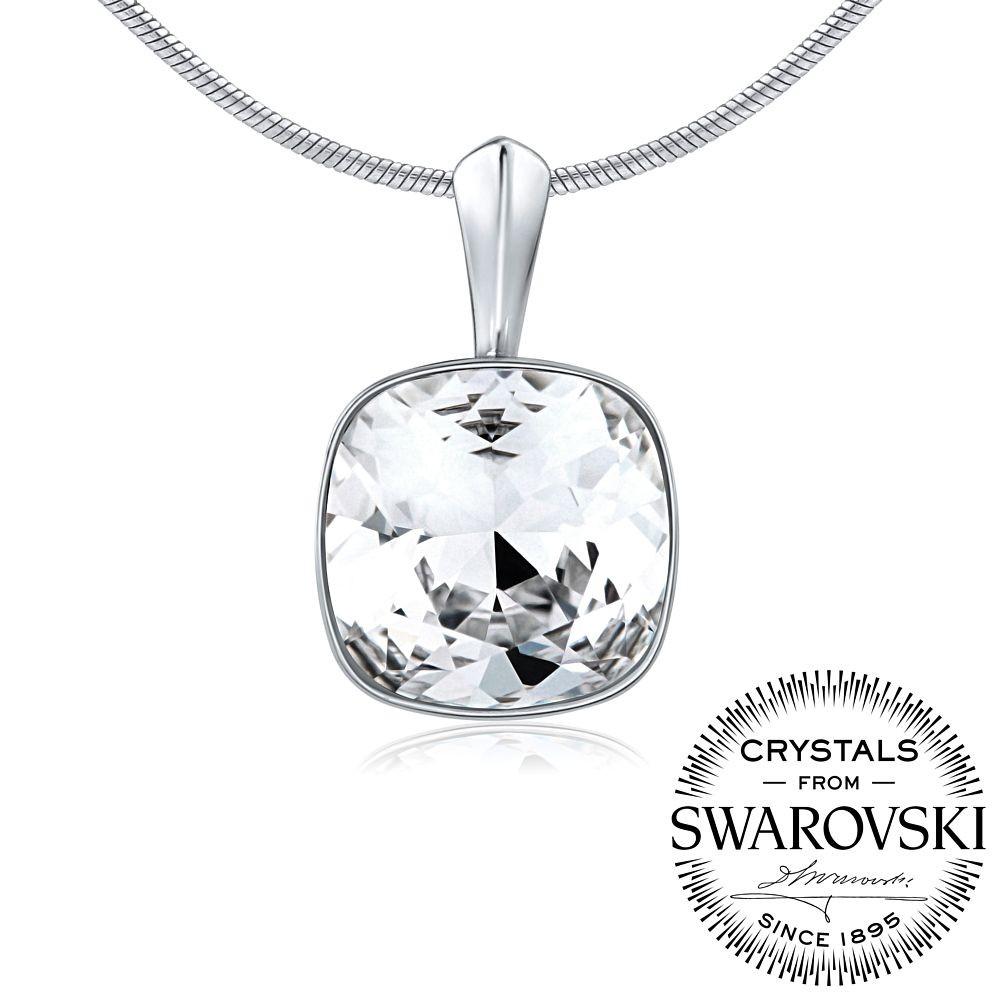 stříbrný přívěsek se Swarovski® Crystals SQUARE 12mm VSW047p