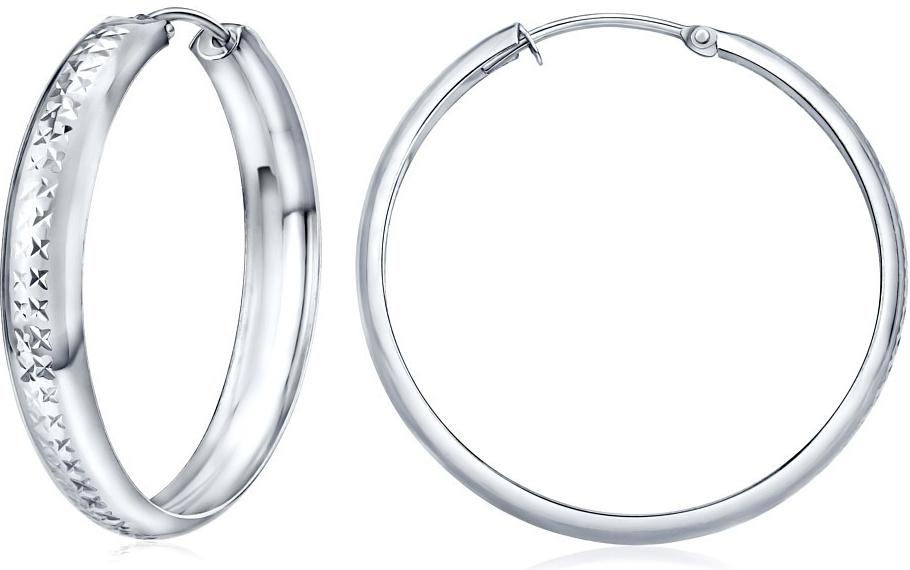 Stříbrné náušnice kruhy 30 mm s ozdobným rytím SILVEGOB30564-30p