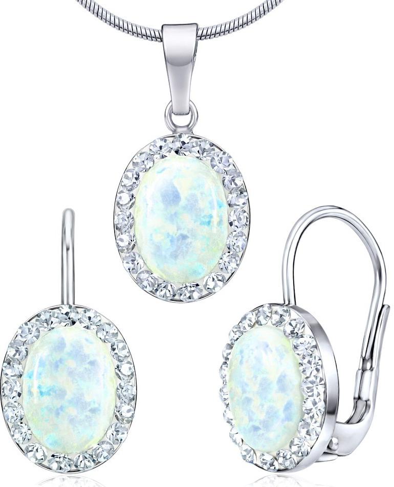 stříbrný set náušnice a přívěsek se Swarovski Crystals a bílým opálem SILVEGOB36