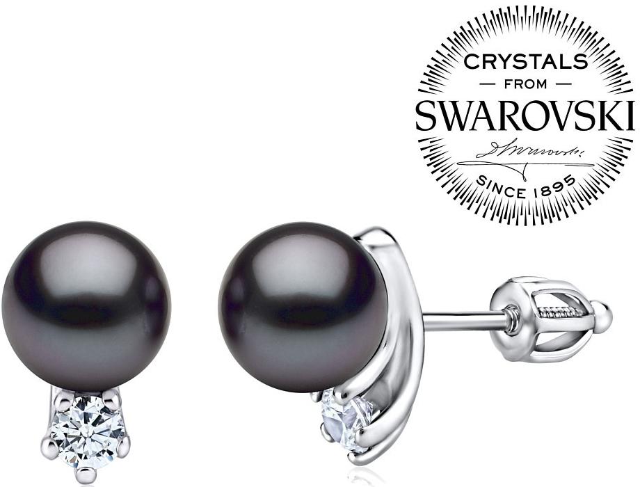 stříbrné náušnice s černou perlou Swarovski® SILVEGOB31657b