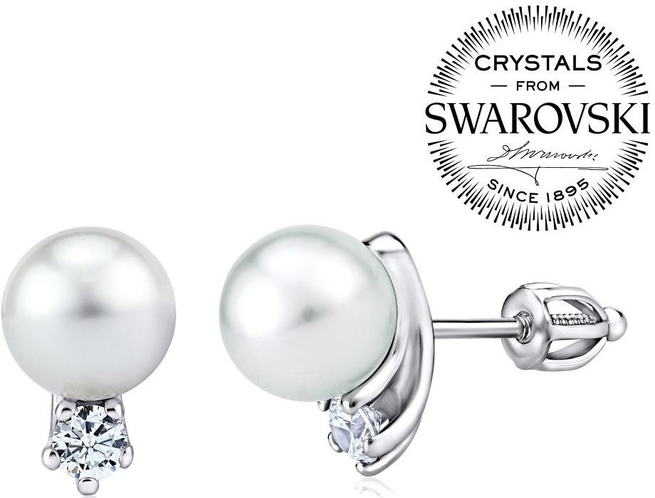 stříbrné náušnice s bílou perlou Swarovski na šroubek SILVEGOB31657w