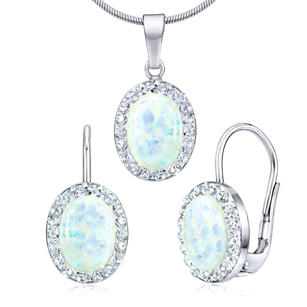 Náušnice a přívěsek se Swarovski® Crystals a bílým opálem SILVEGOB36063w