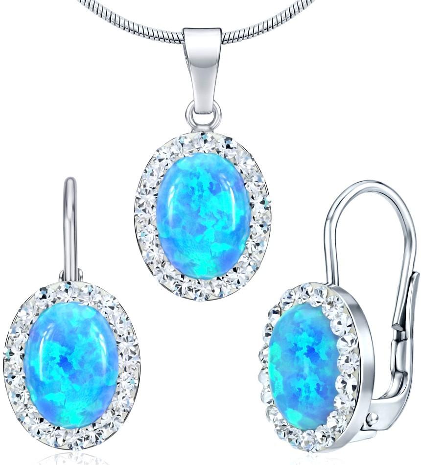 náušnice a přívěsek se Swarovski® Crystals a modrým opálem SILVEGOB36063b
