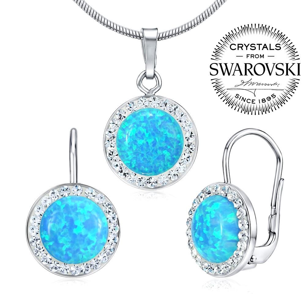 Náušnice a přívěsek se Swarovski® Crystals a modrým opálem SILVEGOB36077b