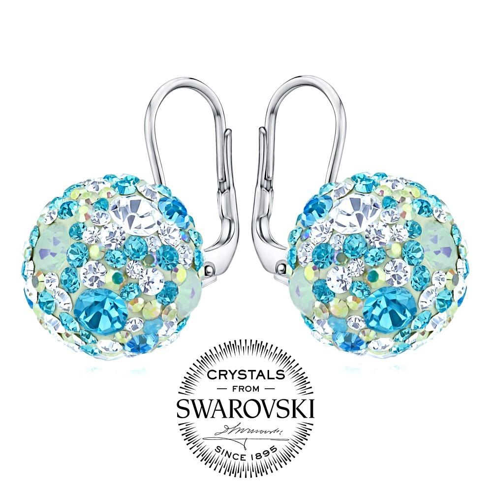 stříbrné náušnice kuličky 13 mm se Swarovski® tyrkysově modrá SILVEGOB36120tyrb