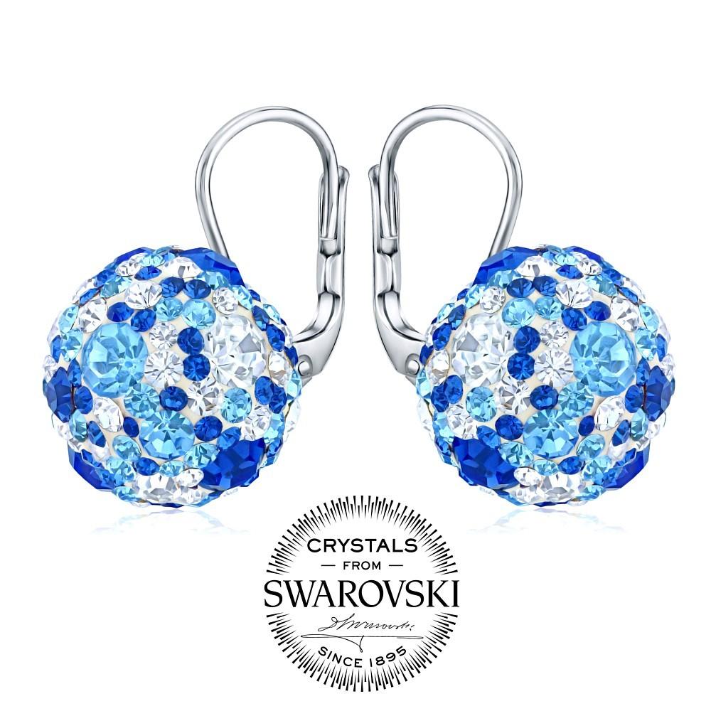 stříbrné náušnice kuličky se Swarovski® Crystals tmavě modrá SILVEGOB36120db