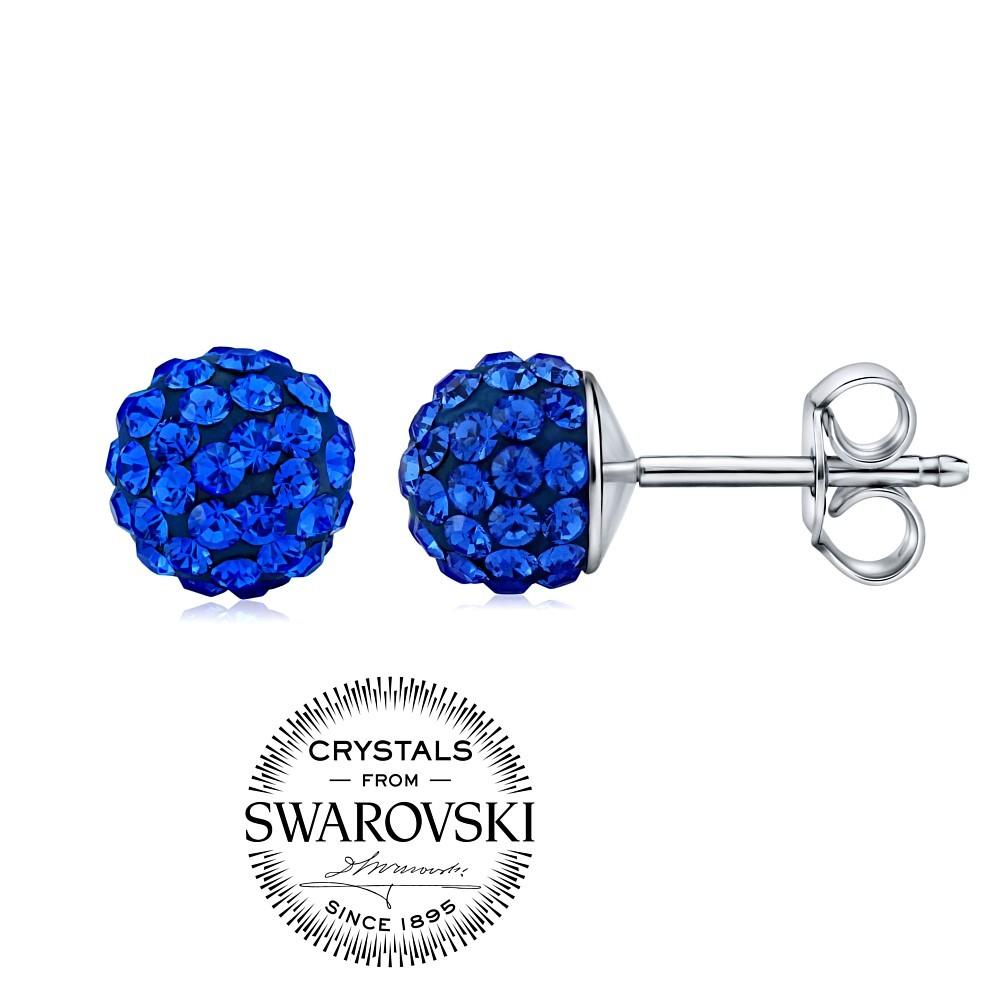 stříbrné náušnice kuličky 7mm se Swarovski® Crystals tmavě modrá SILVEGOB36071db
