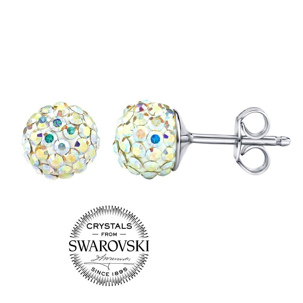 stříbrné náušnice kuličky 7mm se Swarovski® Crystals AB SILVEGOB36071ab