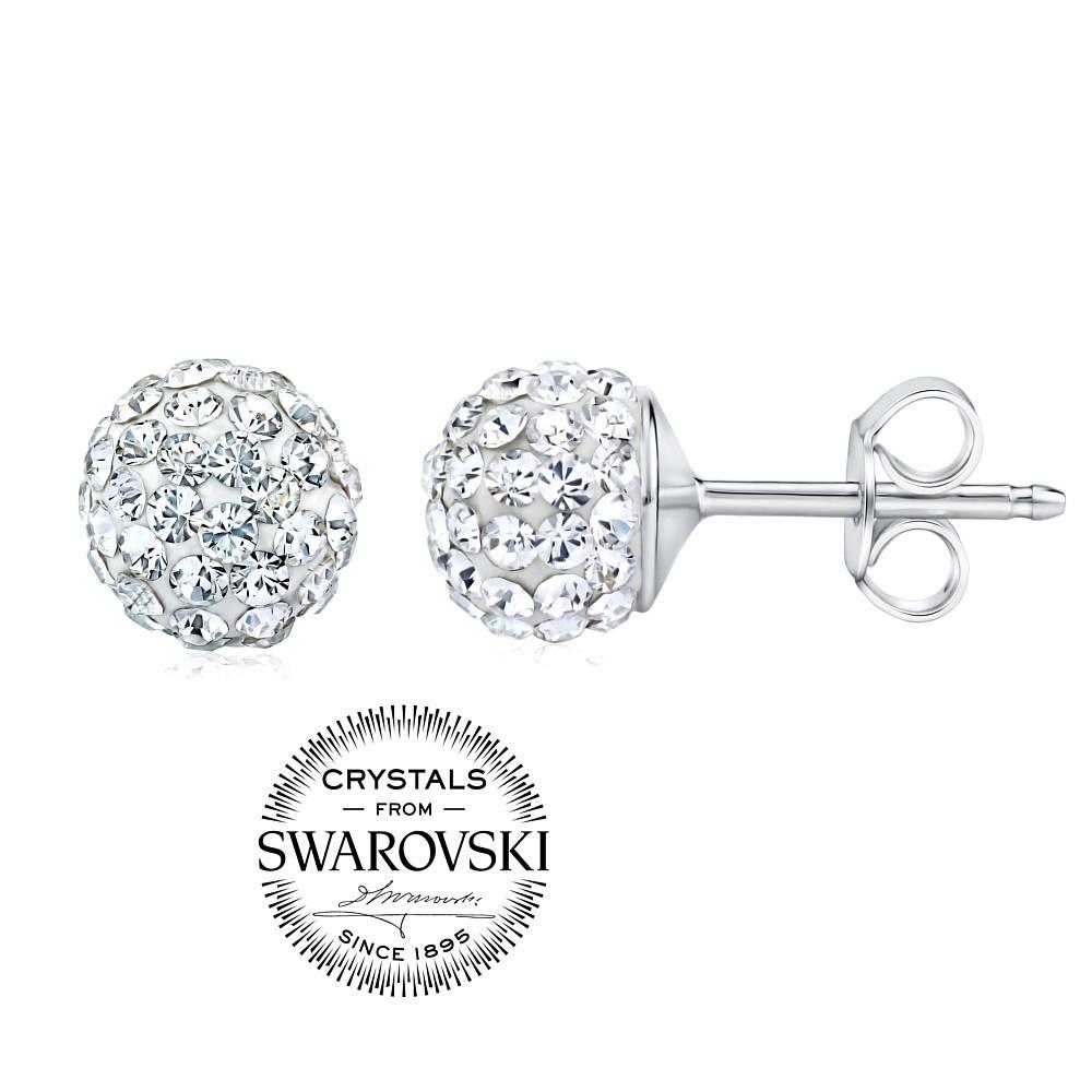 stříbrné náušnice kuličky 7mm se Swarovski® Crystals čiré SILVEGOB36071w