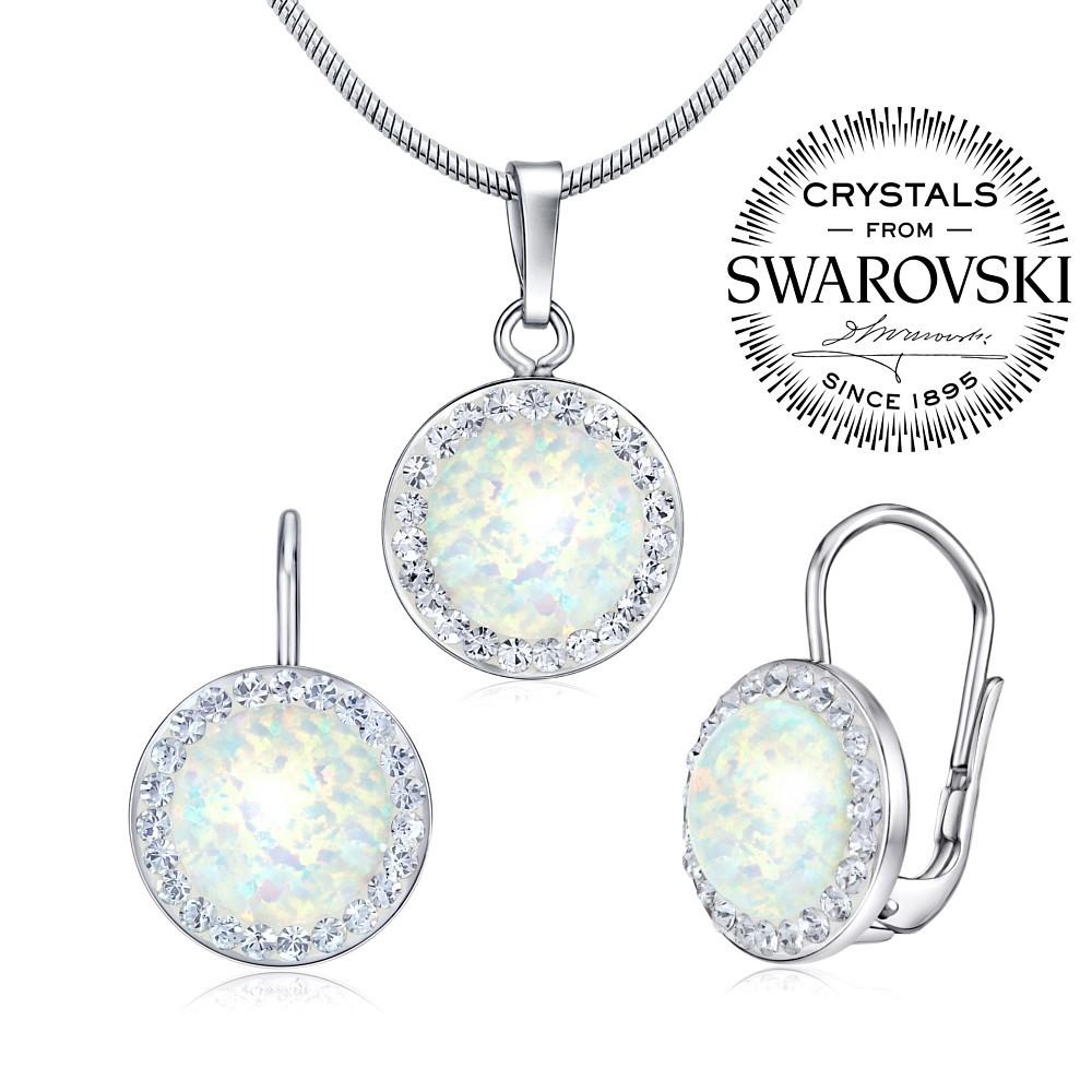 stříbrný set - náušnice a přívěsek s bílým opálem SILVEGOB36077w