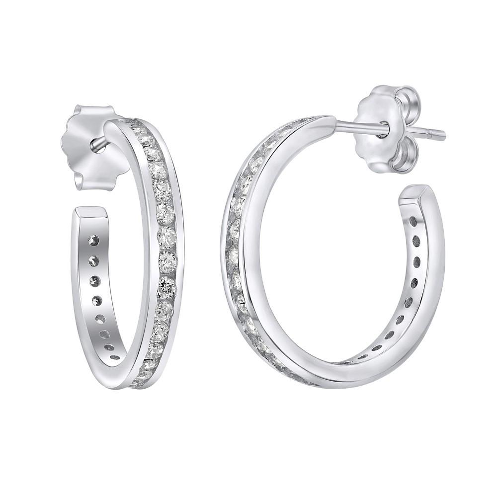 Stříbrné kruhové náušnice na puzety YO58S6