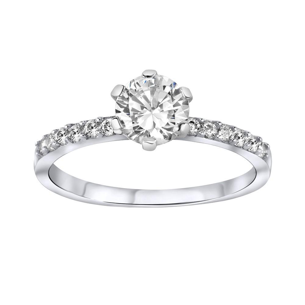 Stříbrný prsten se zirkony RTH154K