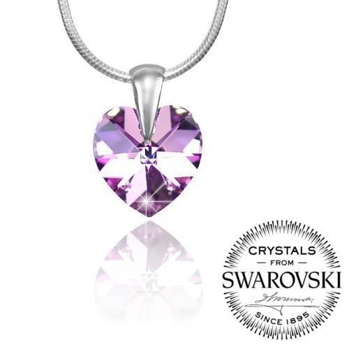 Silvego stříbrný přívěsek SRDCE 14mm se Swarovski® Crystals Vitrail Light LSW095