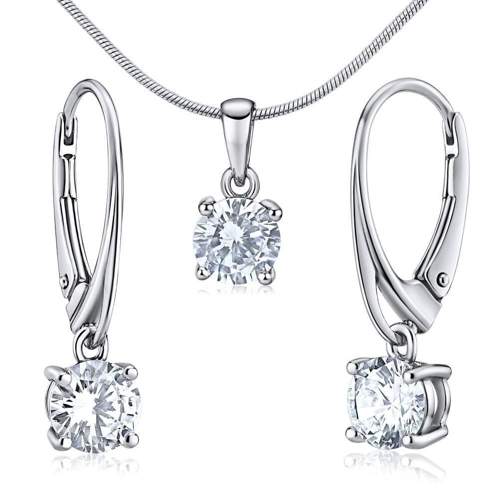 Stříbrná souprava šperků CORALEE náušnice a přívěsek JJJS0588