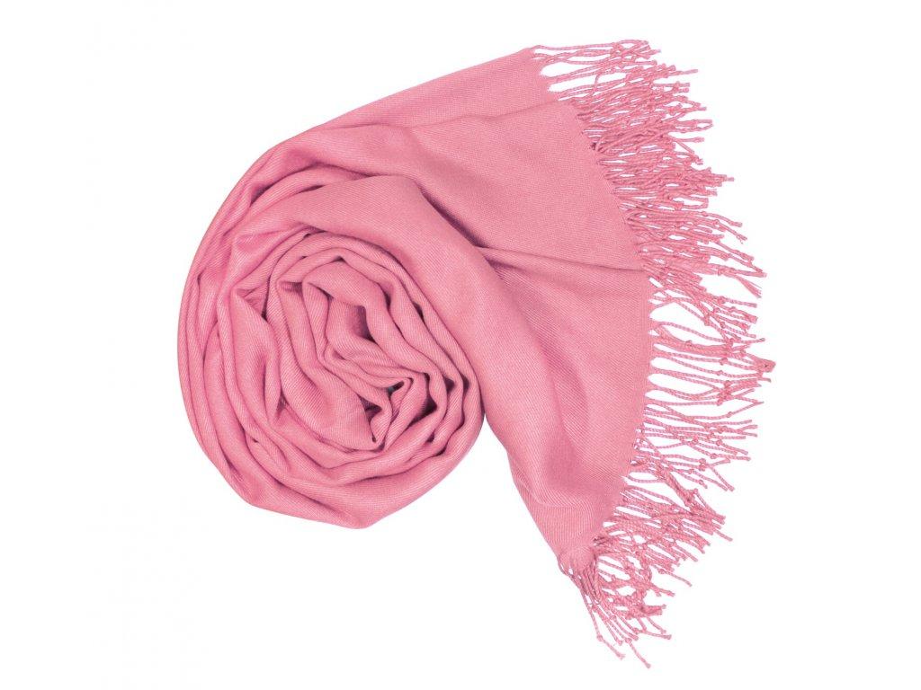 Dámská Pašmína růžové barvy s nádechem do fialové P7