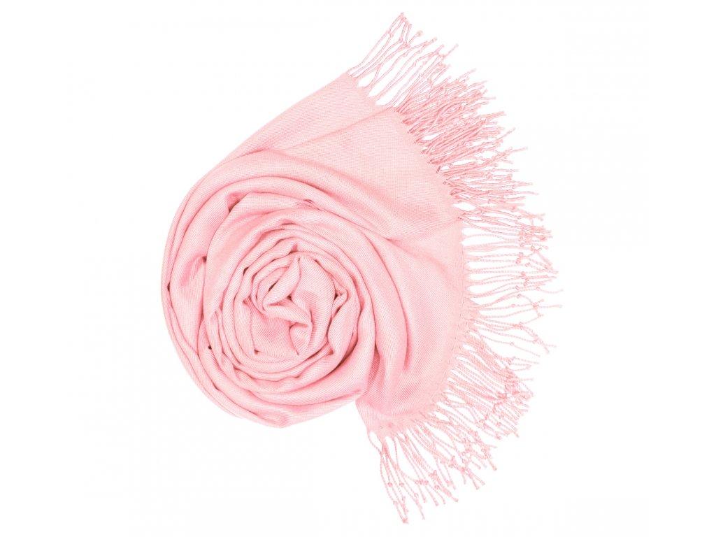 Dámská Pašmína jemně růžová P8