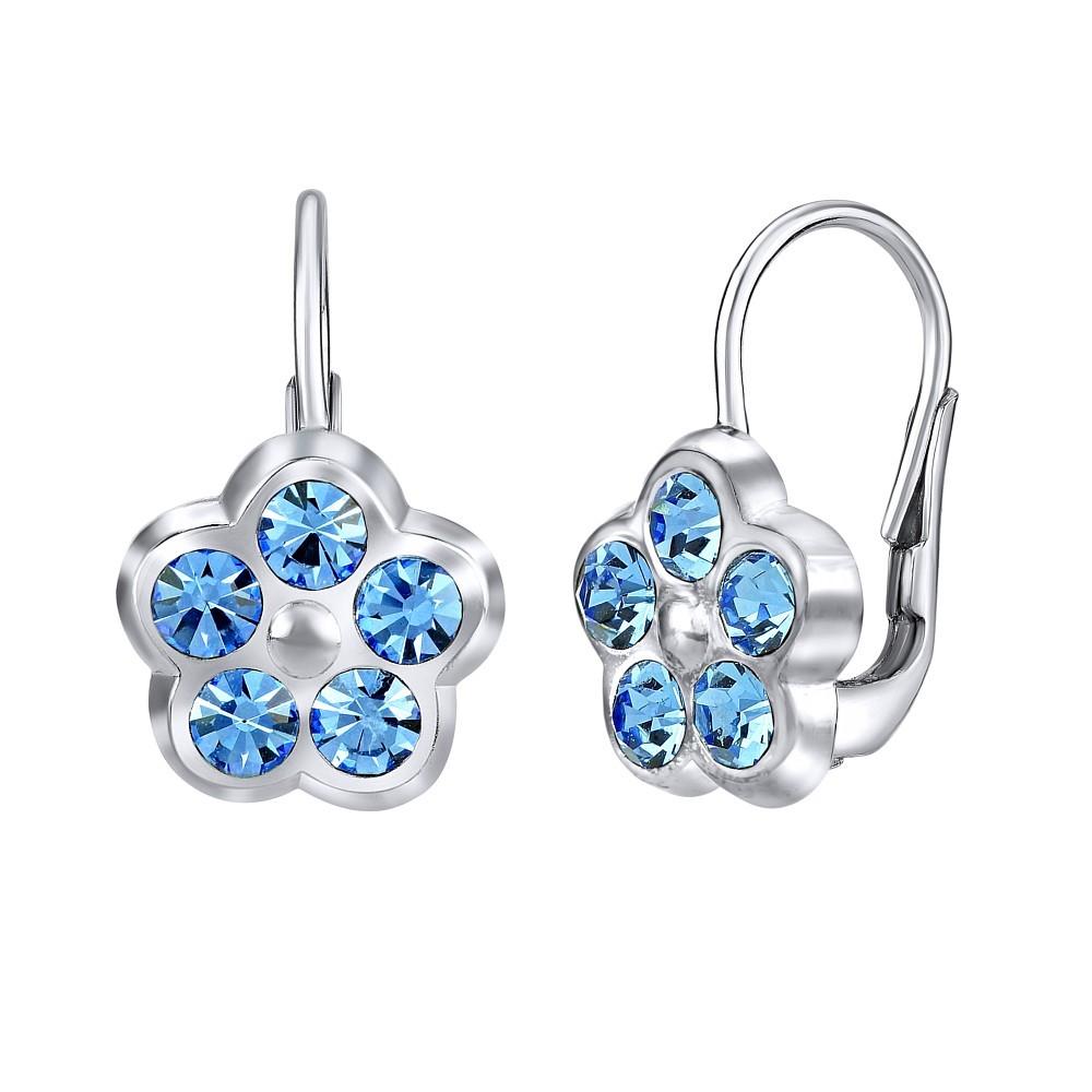 Stříbrné náušnice POMNĚNKY s modrým křišťálem SILVEGOB70328sb
