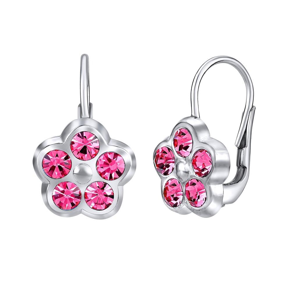 Stříbrné náušnice POMNĚNKY s růžovým křišťálem SILVEGOB70328p