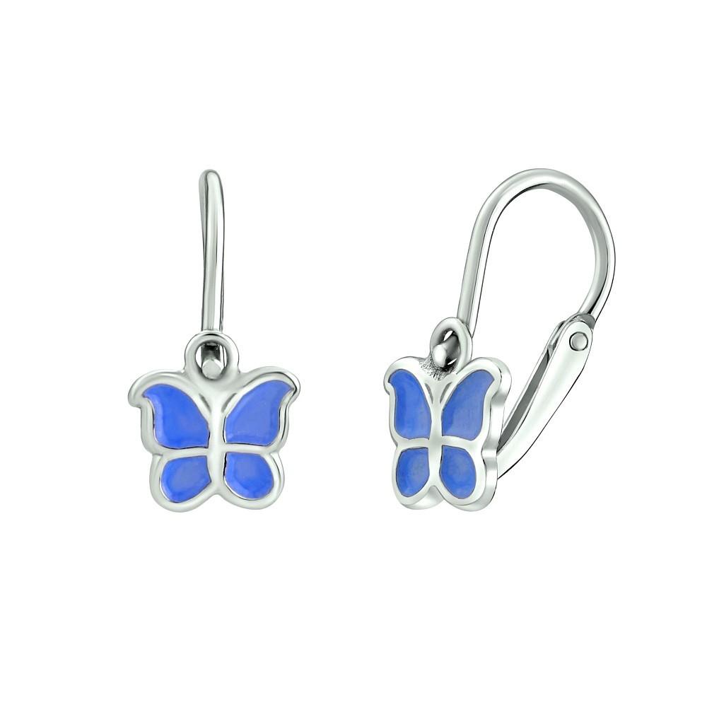 Stříbrné dětské náušnice Motýl - světle modrý SILVEGOB70273-sm
