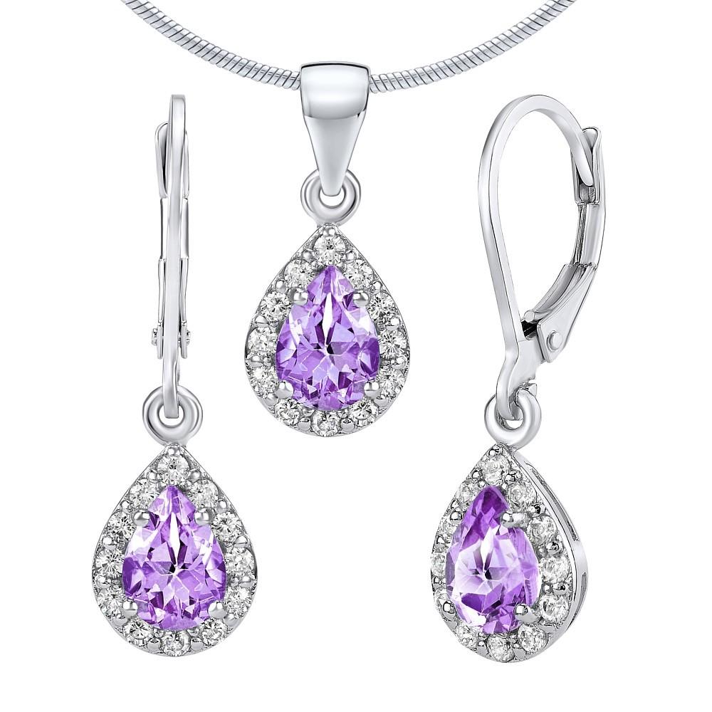 Set stříbrných šperků LAVENDER s pravým Ametystem - náušnice a přívěsek FNJS1032