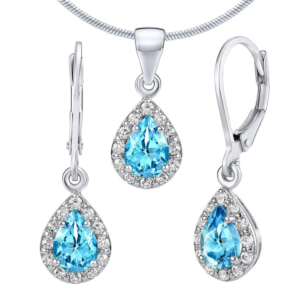 Set stříbrných šperků GENEVA s pravým Topazem Swiss - FNJS1032TS