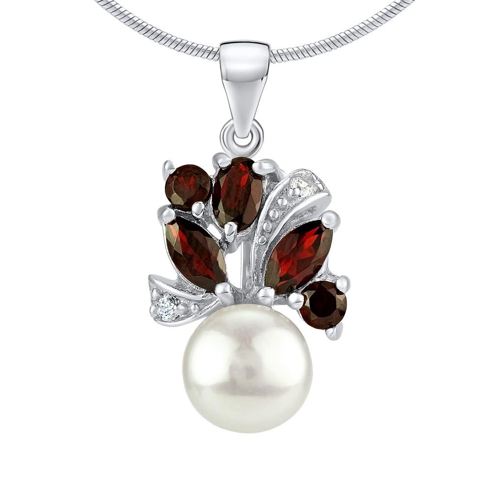 Stříbrný přívěsek MARIANNE s přírodní perlou a pravým Granátem FNJP0434ga
