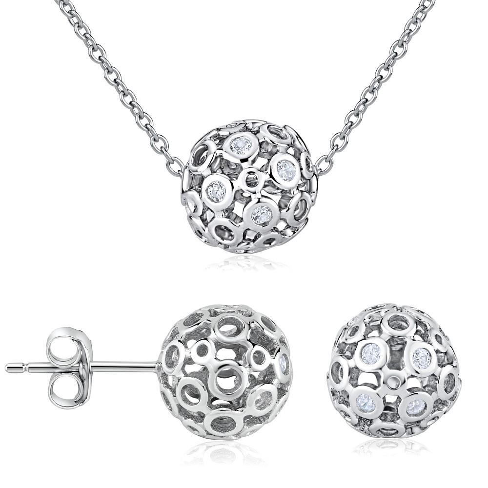 Set stříbrných šperků ALLURA náušnice a náhrdelník JJJS855
