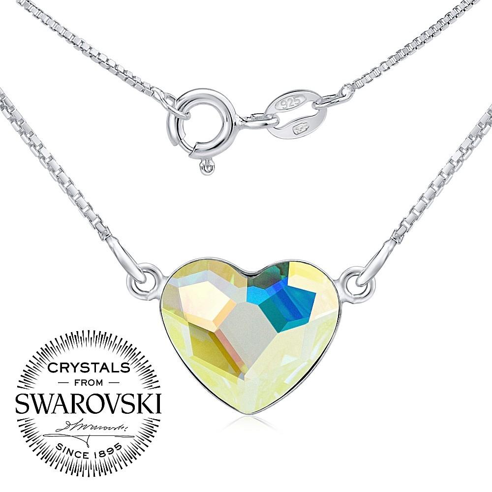 SILVEGO stříbrný náhrdelník se Swarovski® Crystals srdce Aurora Boreale VSW060N