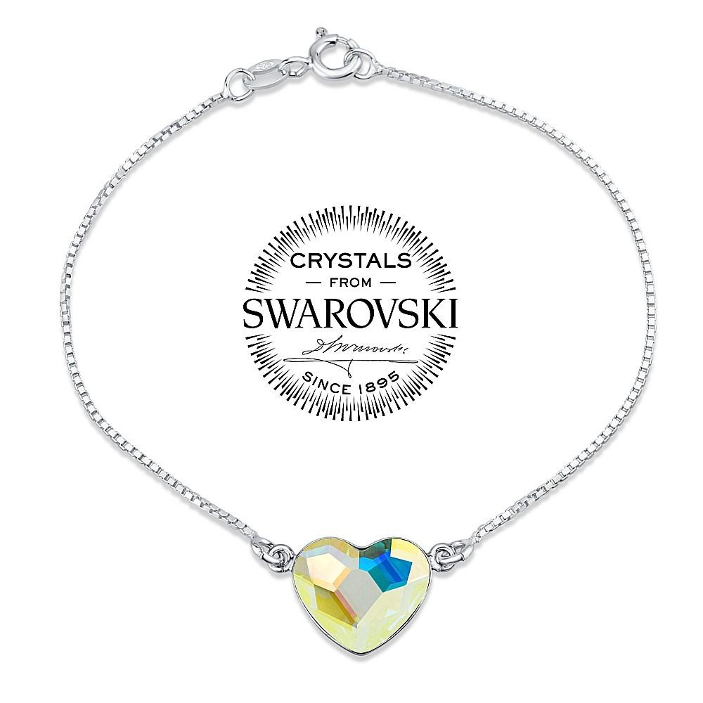 SILVEGO stříbrný náramek se Swarovski® Crystals srdce Aurora Boreale VSW058b