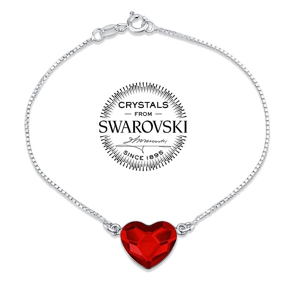 SILVEGO stříbrný náramek se Swarovski® Crystals srdce červené VSW063B