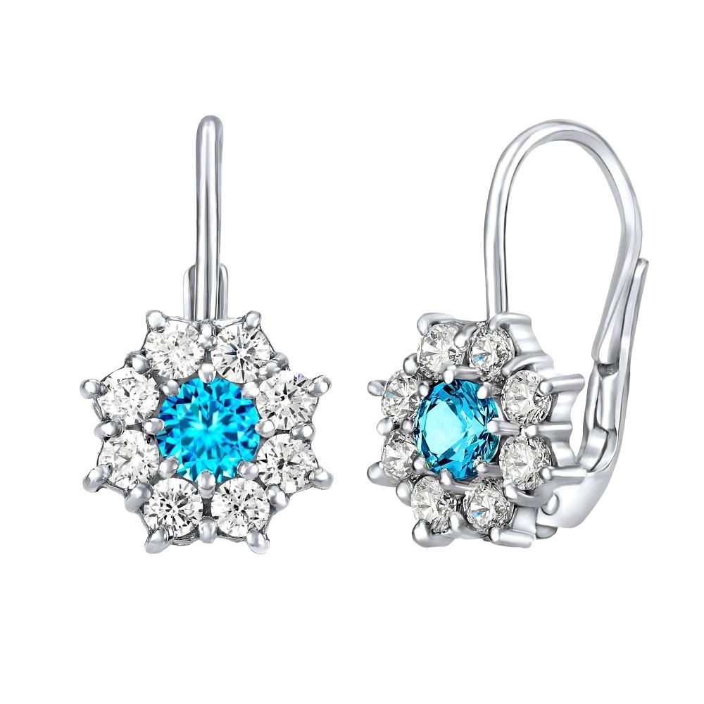 5777622f4 Stříbrné náušnice květinky s tyrkysově modrým zirkonem SILVEGOB31572TR