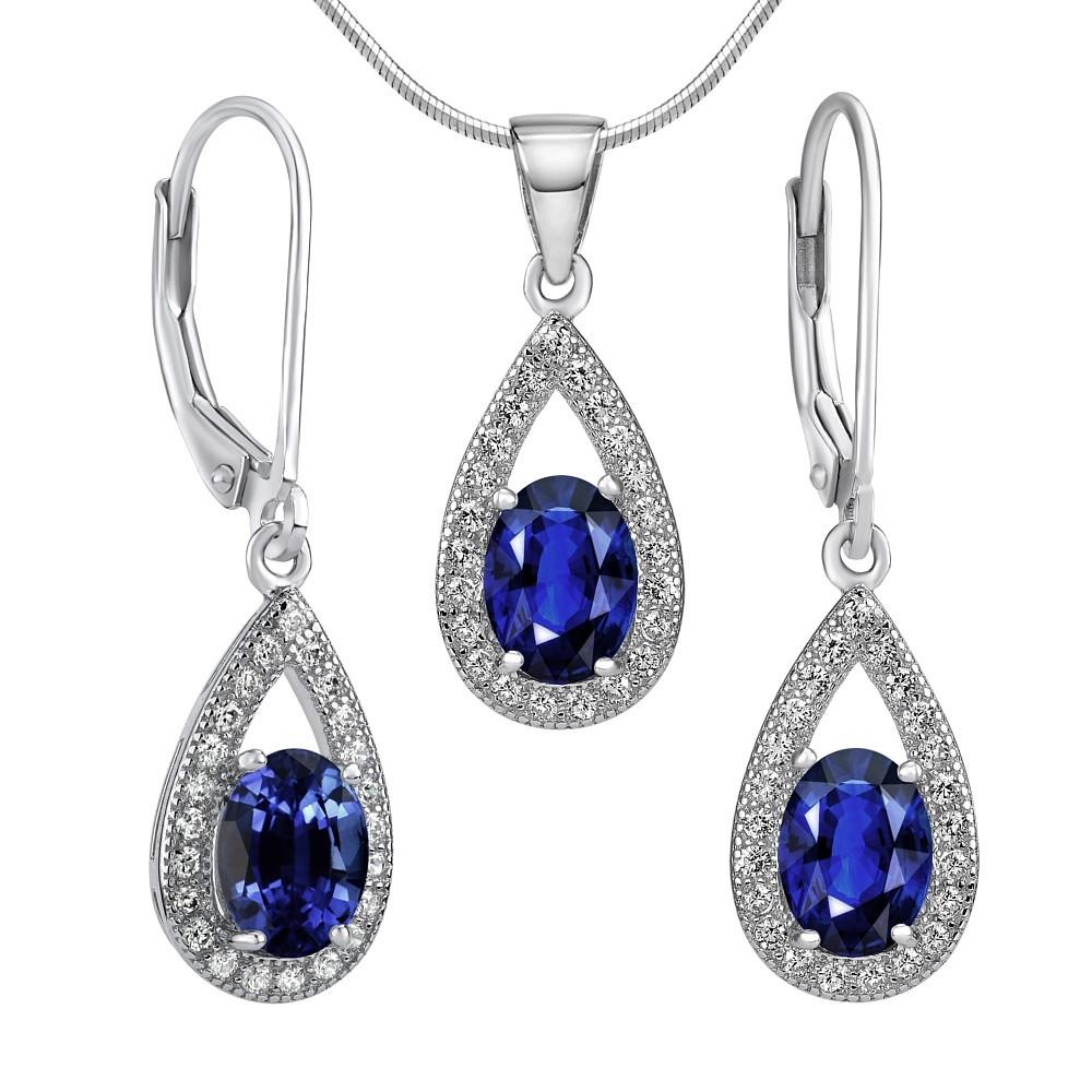 Set stříbrných šperků VEGA náušnice a přívěsek se syntetickým safírem JJJS0223s