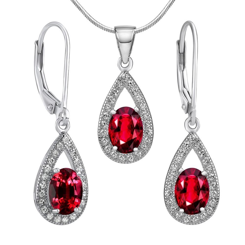 Set stříbrných šperků ORION náušnice a přívěsek se syntetickým rubínem JJJS0223r