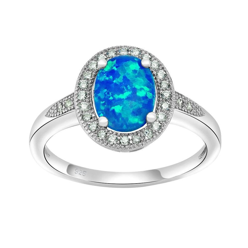Stříbrný prsten LUNA s modrým opálem JJJ0213C1
