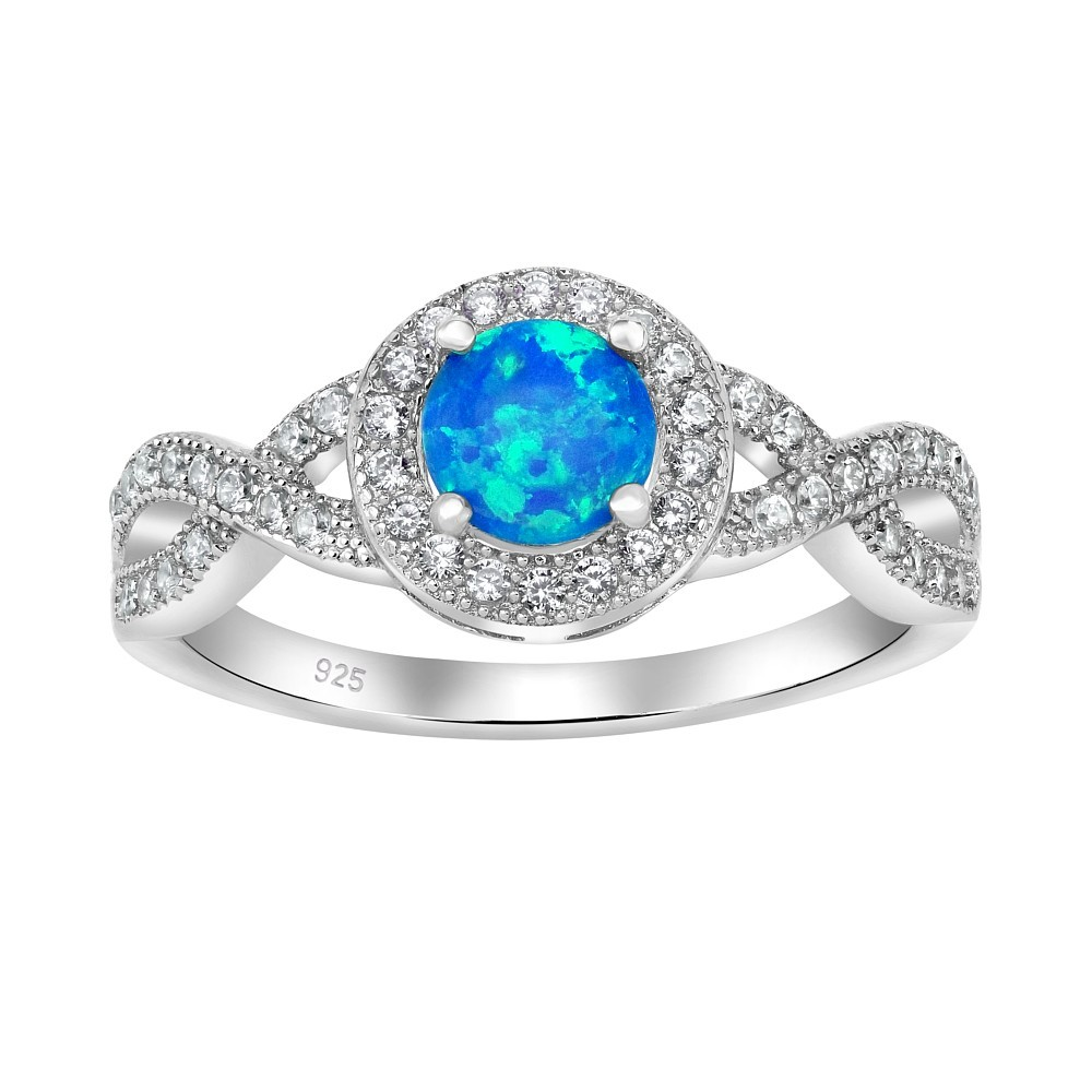 Stříbrný prsten CHERIE s modrým opálem JJJ0357C1