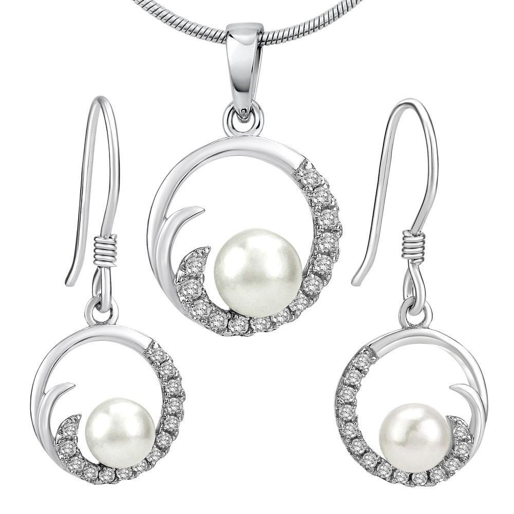 VIVA stříbrná perlová souprava šperků přívěsek a náušnice JJJS0949