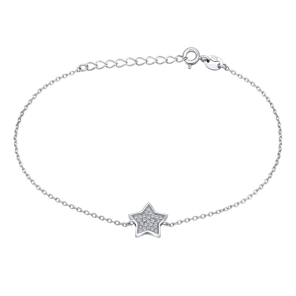 Stříbrný náramek LUCKY STAR s prodloužením JJJB0009