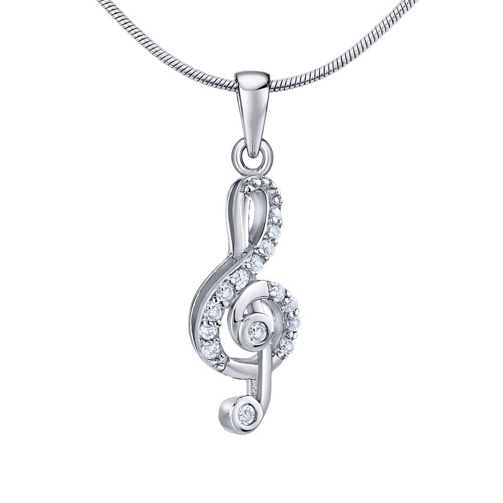 Stříbrný přívěsek houslový klíč se zirkony JJJP1098