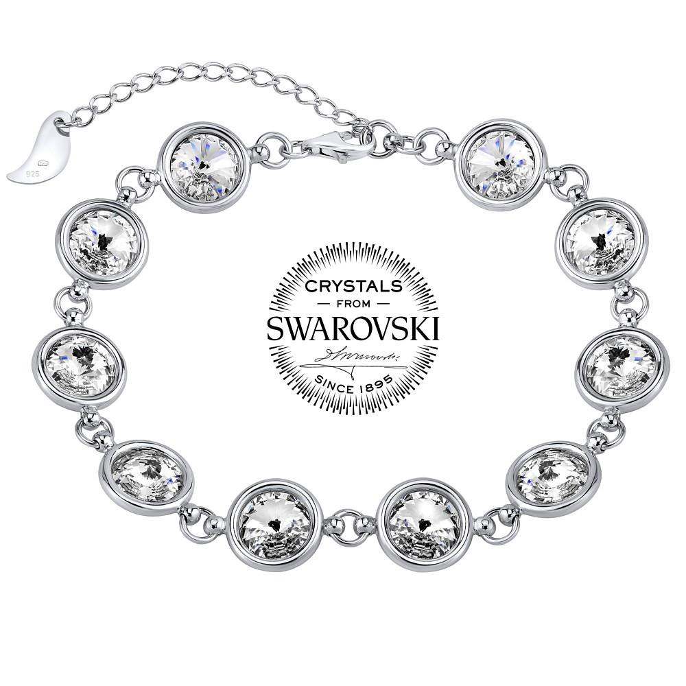 SILVEGO stříbrný náramek se Swarovski® Crystal 8 mm rivoli čiré VSW065B