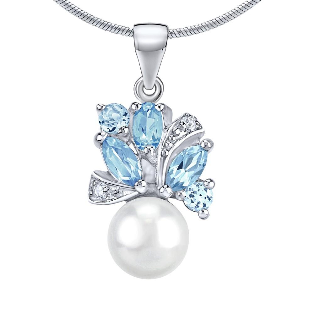 Stříbrný přívěsek MARIANNE s přírodní perlou a pravým Topazem FNJP0434TB