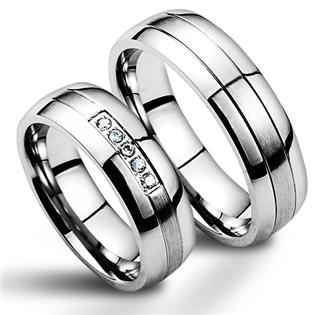 Snubní prsteny chirurgická ocel - pár NSS1002 + NSS1000