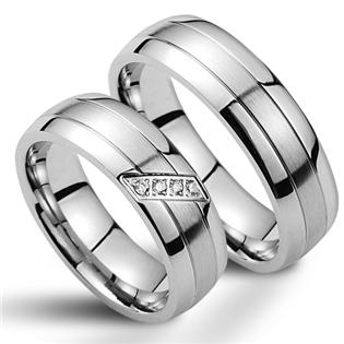 Snubní prsteny chirurgická ocel - pár NSS1001 + NSS1000