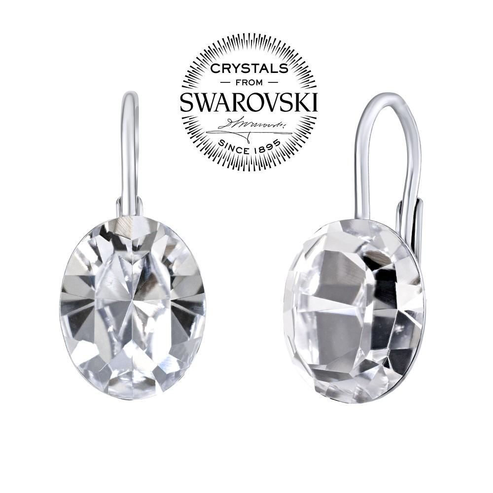 SILVEGO stříbrné náušnice se Swarovski® Crystals ovál SILVEGOVSW071